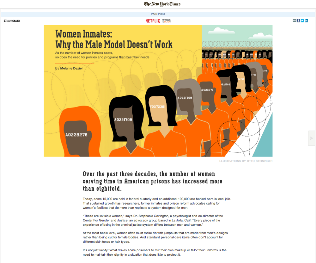 New york times laved en native advertisement for tv serien Orange is the New Black.